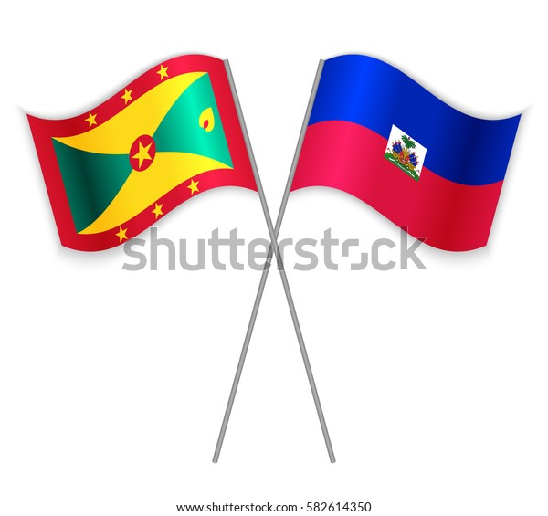Grenadian and Haitian crossed flags. Grenada combined with Haiti isolated on white. Language learning, international business or travel concept.