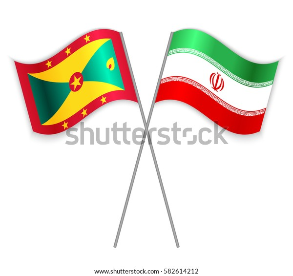Grenadian and Iranian crossed flags. Grenada combined with Iran isolated on white. Language learning, international business or travel concept.
