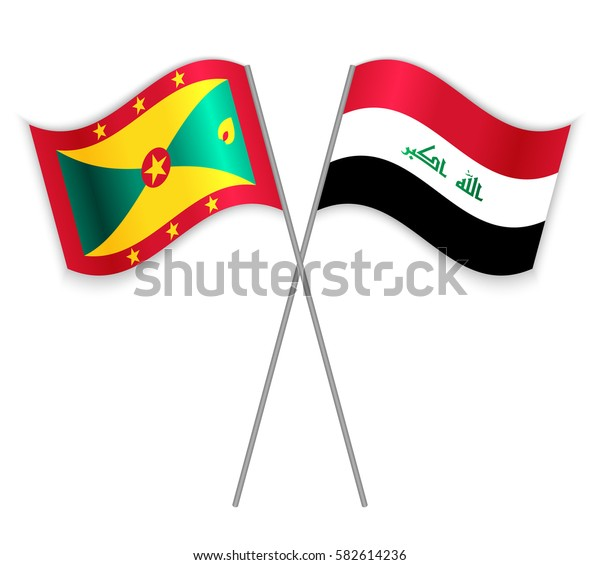 Grenadian and Iraqi crossed flags. Grenada combined with Iraq isolated on white. Language learning, international business or travel concept.