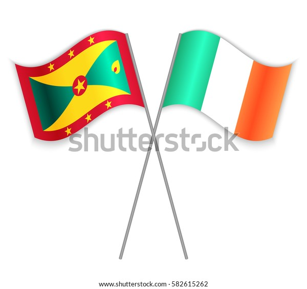 Grenadian and Irish crossed flags. Grenada combined with Ireland isolated on white. Language learning, international business or travel concept.