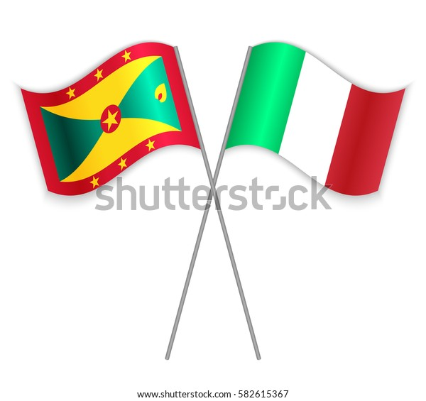 Grenadian and Italian crossed flags. Grenada combined with Italy isolated on white. Language learning, international business or travel concept.