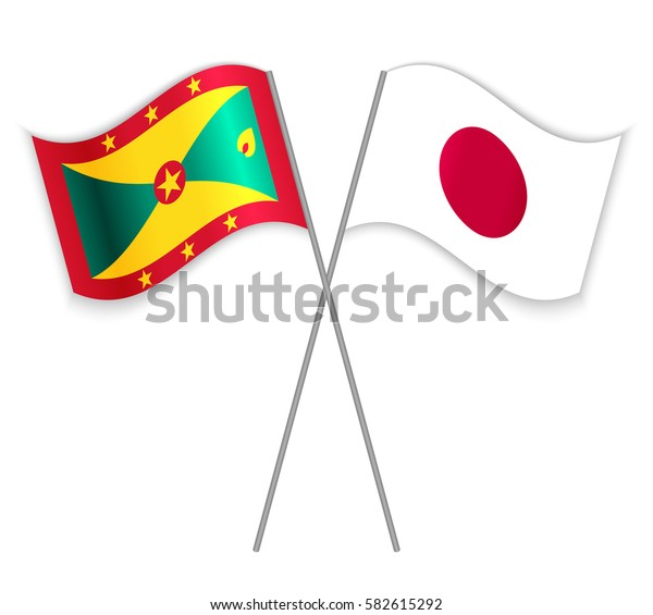 Grenadian and Japanese crossed flags. Grenada combined with Japan isolated on white. Language learning, international business or travel concept.