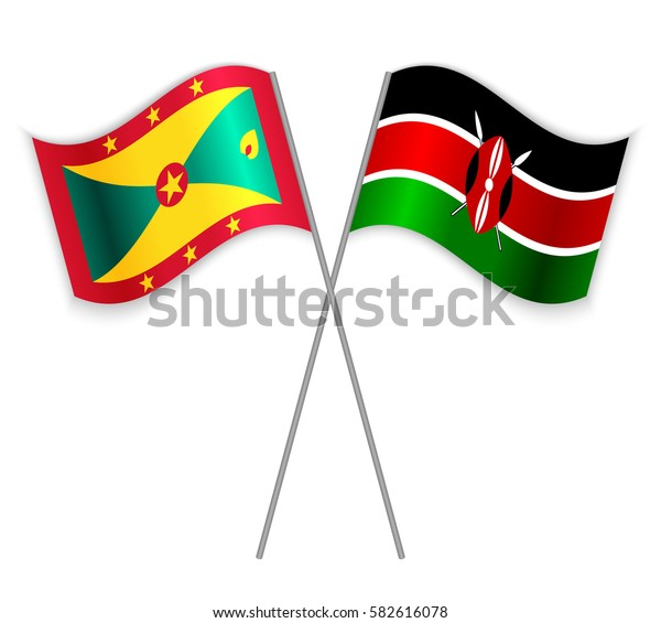 Grenadian and Kenyan crossed flags. Grenada combined with Kenya isolated on white. Language learning, international business or travel concept.