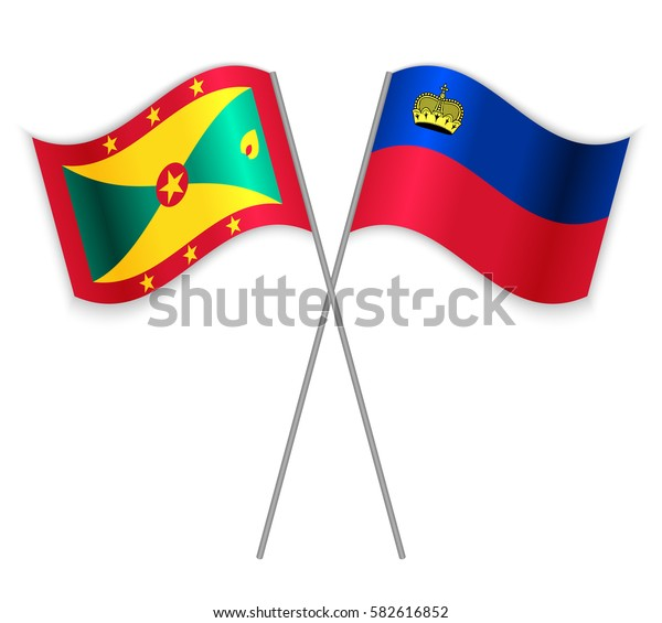 Grenadian and Liechtenstein crossed flags. Grenada combined with Liechtenstein isolated on white. Language learning, international business or travel concept.