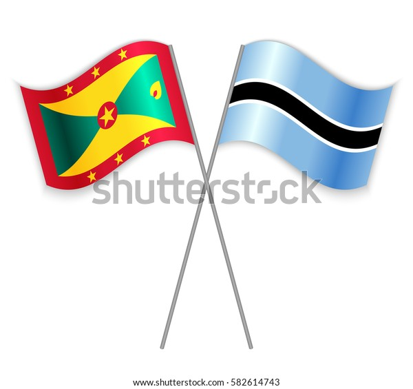 Grenadian and Motswana crossed flags. Grenada combined with Botswana isolated on white. Language learning, international business or travel concept.