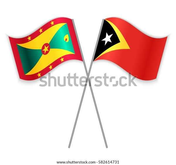 Grenadian and Timorese crossed flags. Grenada combined with East Timor isolated on white. Language learning, international business or travel concept.