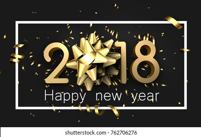 Grey 2018 happy new year background with gold serpentine and bow. Vector illustration.
