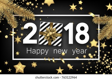 Grey 2018 new year background with gold stars and gift. Vector top view illustration.