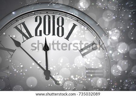 grey 2018 new year background with clock vector illustration