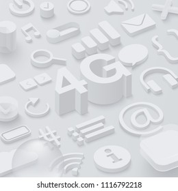 Grey 3d 4G background with web symbols. Vector illustration.