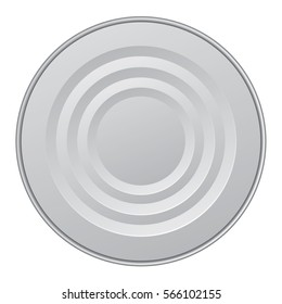 Grey 3d circle tin isolated on white backdrop. Close up detail view with copy space for text on label