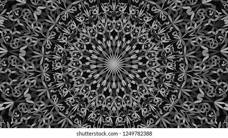 Grey abstract flower kaleidoscope mandala pattern ornament background - ethnic vector graphic design