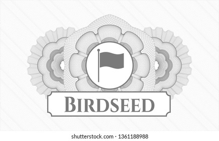 Grey abstract linear rosette with flag icon and Birdseed text inside