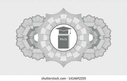 Grey abstract linear rosette with Phd thesis icon inside