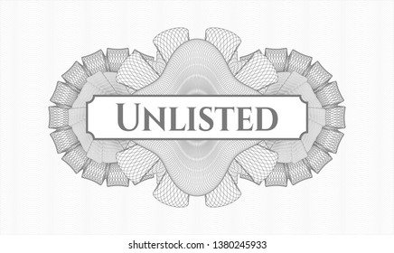Grey abstract linear rosette with text Unlisted inside