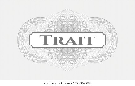Grey abstract linear rosette with text Trait inside