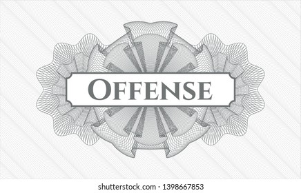 Grey abstract linear rosette with text Offense inside