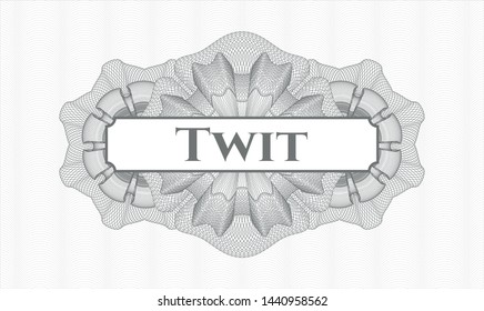 Grey abstract linear rosette with text Twit inside