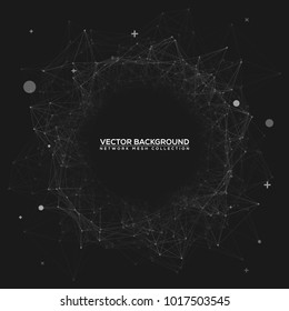 Grey Abstract Network Mesh on Black Vector Background with Your Text