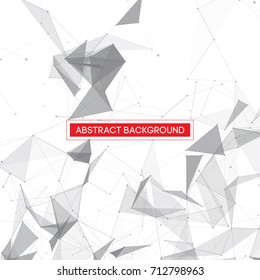 Grey Abstract Network Mesh on White Background with Red Text Frame - Vector Illustration