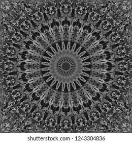 Grey abstract repeating triangle mosaic tile kaleidoscope mandala wallpaper pattern - geometrical vector background illustration