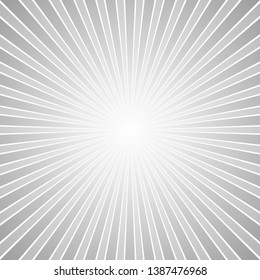 Grey abstract retro ray burst background - gradient vector graphic design with radial stripes