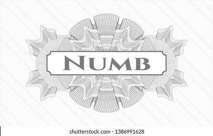 Grey abstract rosette with text Numb inside