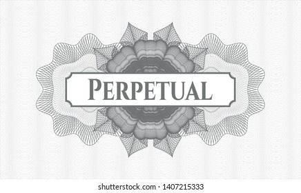 Grey abstract rosette with text Perpetual inside