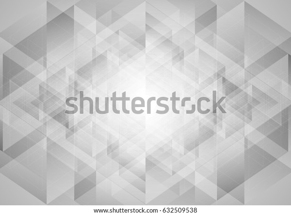 Grey abstract tech low poly triangles background. Vector design