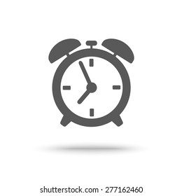 Grey alarm clock icon isolated