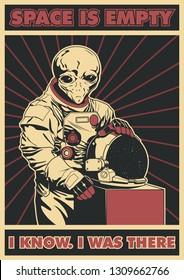 Grey Alien Astronaut Suit and Helmet Space Poster