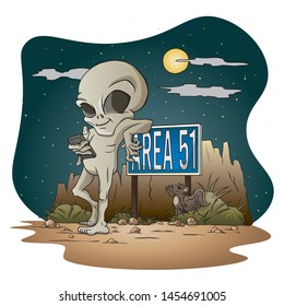 Grey Alien leaning on Area 51 sign
