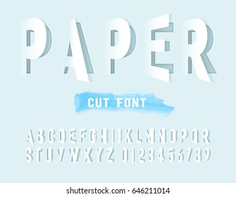 Grey alphabet letters cut out from paper. Vector illustration