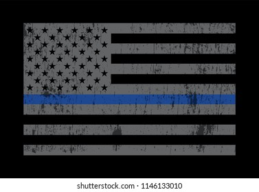 A grey American flag symbolic of support for law enforcement. Vector EPS 10 available.