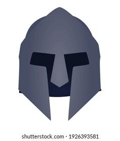 Grey ancient helmet. front side. vector