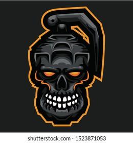 Grey Angry Grenade  Fraggedd Mascot Vector Esports Logo - Editable - Isolated