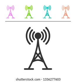 Grey Antenna icon isolated on white background. Radio antenna wireless. Technology and network signal radio antenna. Set icon in color buttons. Vector Illustration