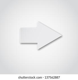 Grey arrow vector button with shadow