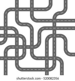 Grey Asphalt Roads making Concrete Spaghetti Streets