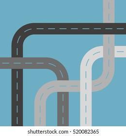 Grey Asphalt Roads or Streets Cutout Blue Background Pattern