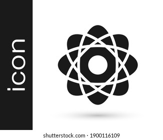 Grey Atom icon isolated on white background. Symbol of science, education, nuclear physics, scientific research.  Vector Illustration