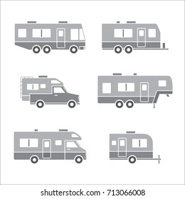 Grey auto RVs, Camper cars / vans, Truck Trailers, recreational vehicles vector icons, isolated on white background