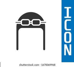 Grey Aviator hat with goggles icon isolated on white background. Pilot hat.  Vector Illustration