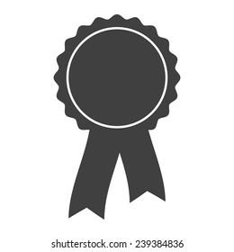 grey award rosette with ribbon