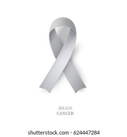 Grey awareness ribbon as symbol of  brain disorders. Borderline personality disorder, diabetes,  ovarian cancer and disabilities. Vector illustration