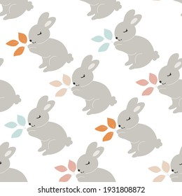 Grey Baby Bunny holds leaves in its paws seamless pattern. Little Rabbit. Cute Easter Animal. Hares Vector Kids Illustration isolated on background. Design for card, print, book, kids story