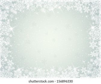grey background with border of  snowflakes, vector illustration