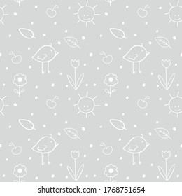 Grey background with children's doodles for a boy or girl in the nursery. Seamless endless pattern for sewing clothes, newborn textiles, packaging paper. Birds, flowers, cheerful sun.