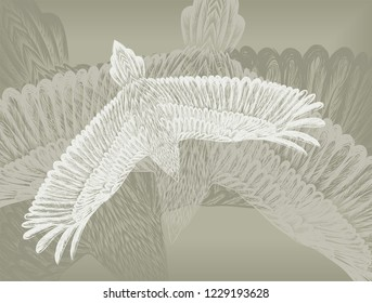 Grey background with feathers pattern. Grunge backdrop for the tattoo salon. Pigeons. Ground with silhouette of bird.
