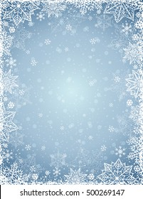 Grey background with  frame of snowflakes and stars,  vector illustration